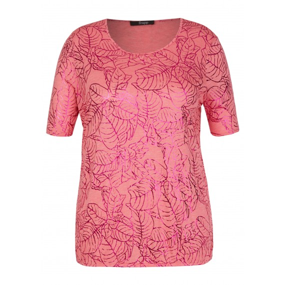 Schimmerndes T-Shirt mit floralem Foliendruck /
