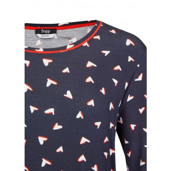Romantisches Shirt mit Allover-Herzen /