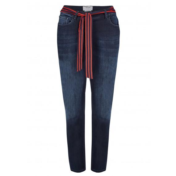 Kombistarke Jeans mit gestreiftem Gürtel /