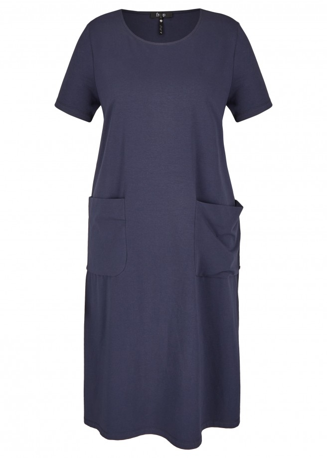 Kurzärmliges Basic-Kleid mit Taschen /