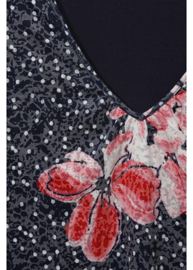 "Gepunktetes V-Shirt ""Flowers"" /"