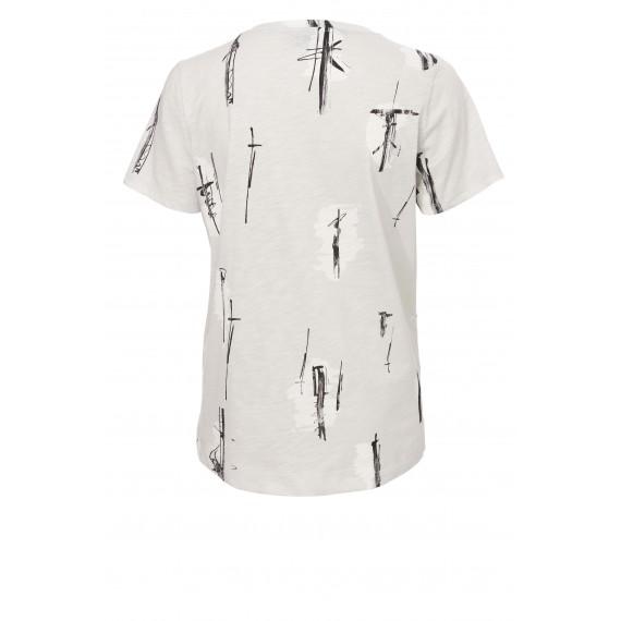 Kontrast-Shirt mit Grafik-Druck /