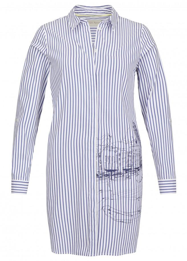 Lässige Long-Bluse mit Muster /