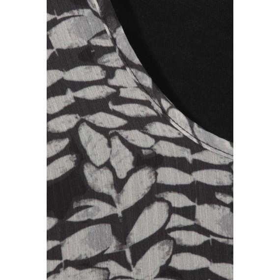 Halbtransparente Bluse mit floralem Muster /