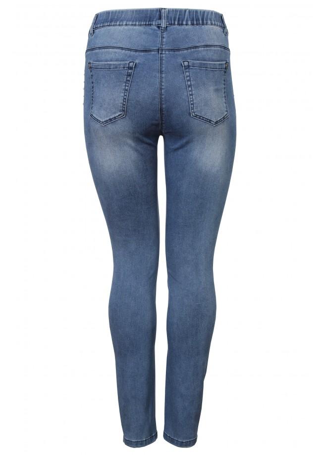Slim Fit-Jeans mit Ziersteinen und Perlen /