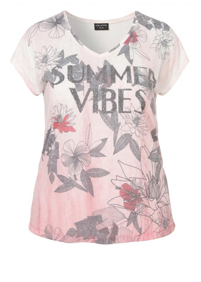 Sommerliches Statement-Shirt mit Farbverlauf /