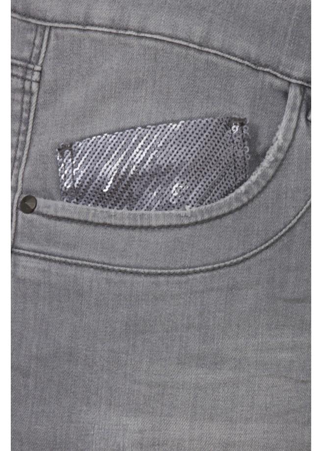 5-Pocket-Jeggings mit Pailletten-Taschen /