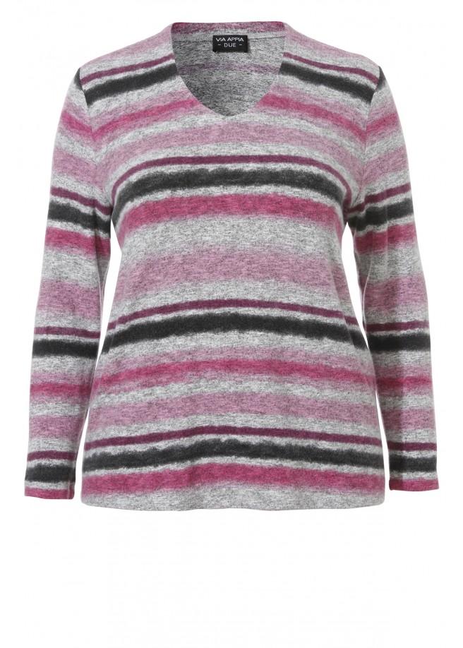Flauschiger Pullover mit Ringel-Muster /