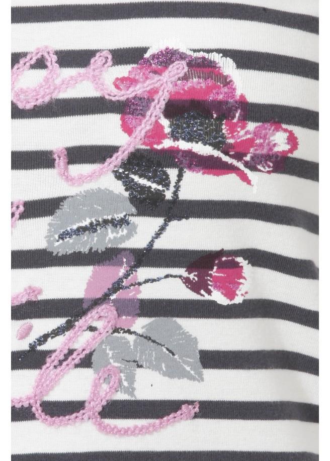 Süßes Ringel-Shirt mit Front-Motiv /