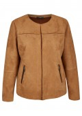 Weiche Jacke in unifarbener Velourslederhaptik /