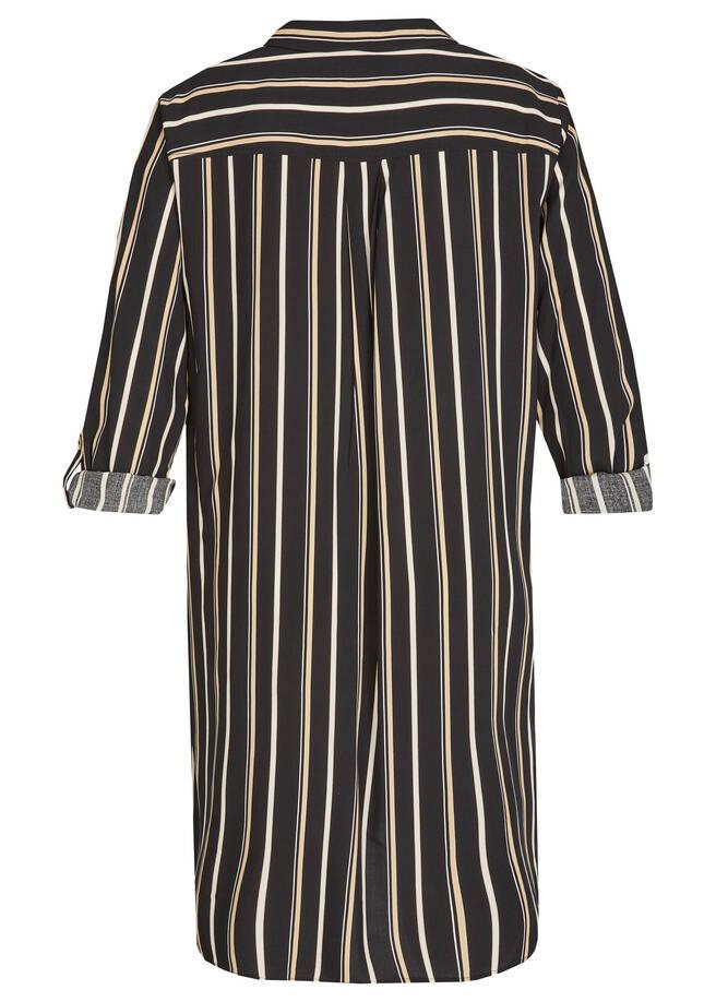 Klassisches Hemdblusenkleid mit gestreiftem Muster /