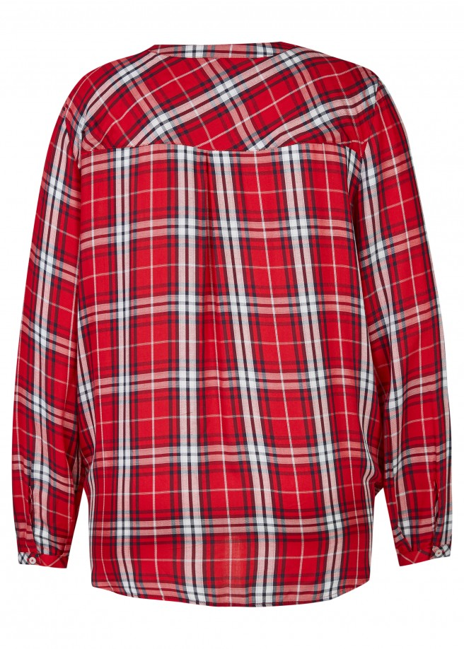 Luftige Bluse mit Karo-Muster /