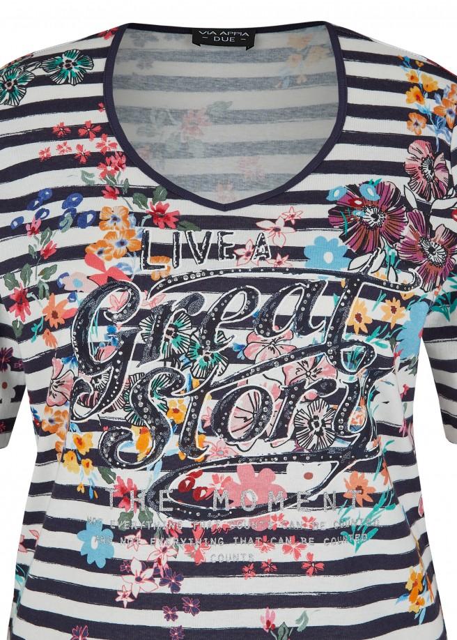 Softes Baumwoll-Ringel-Shirt mit Blumen und Front-Print /