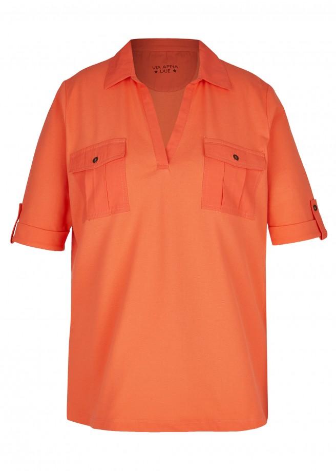 Sportives Poloshirt mit unifarbenem Stoff /