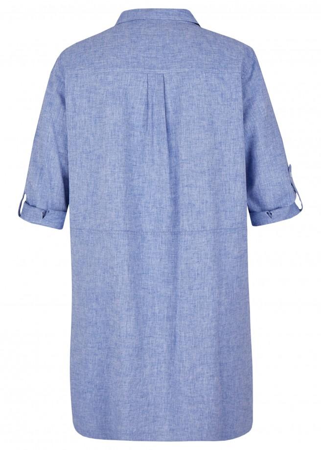 Klassisches Hemdblusenkleid mit Ziertaschen /