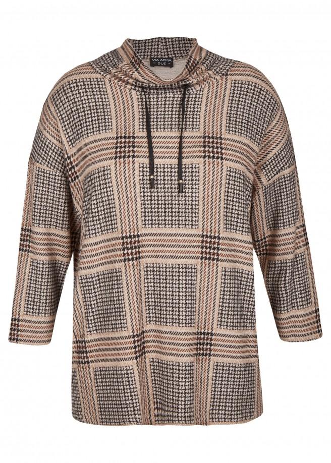 Trendiges Sweatshirt mit Glencheck-Muster /