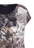 Feminines Top mit Frontprint und schwarzem Rücken /