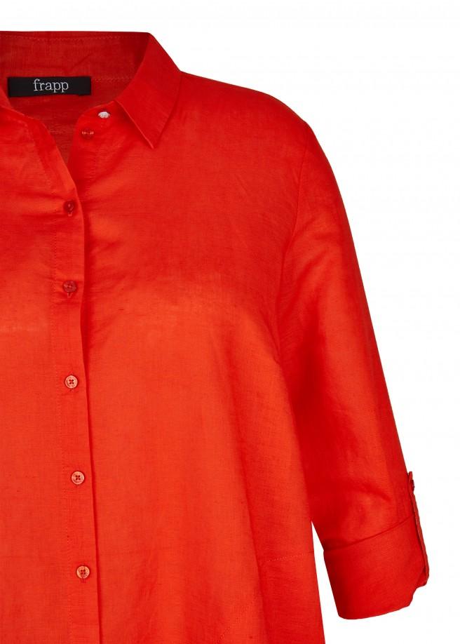 Klassische Hemdbluse mit unifarbenem Stoff /
