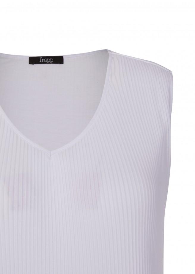 Zarte Plissee-Bluse mit Spitze /