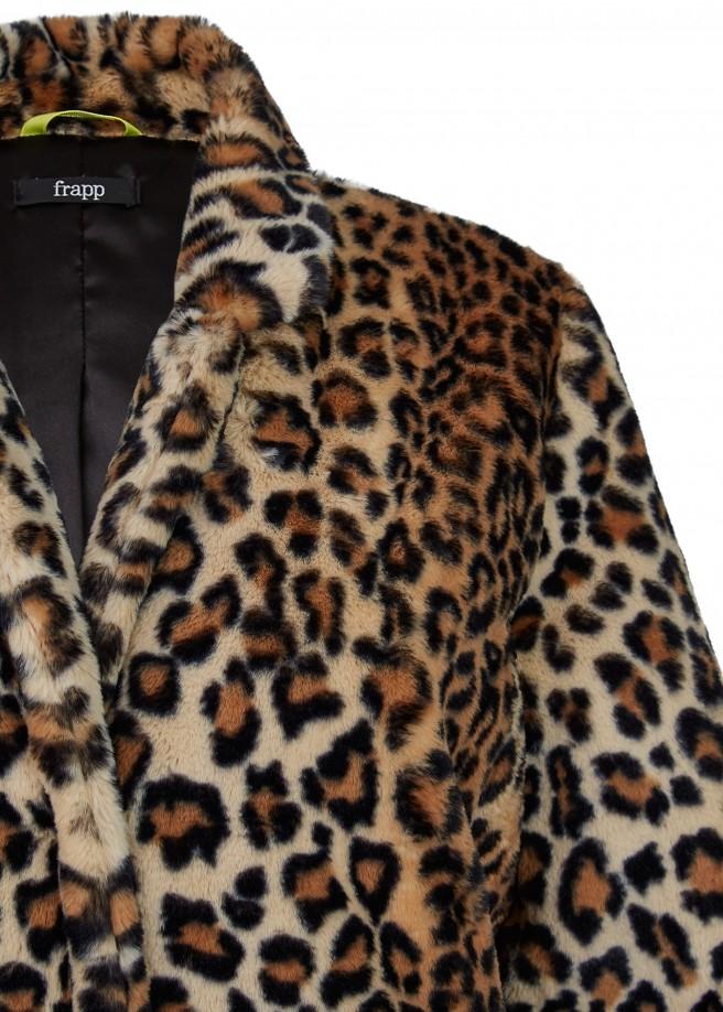Extravaganter Fake Fur-Mantel mit Leoparden-Muster /