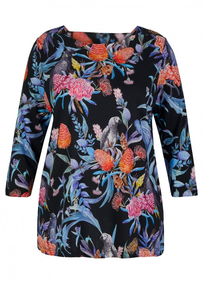 Extravagantes 3/4-Arm-Shirt mit floralem Muster /
