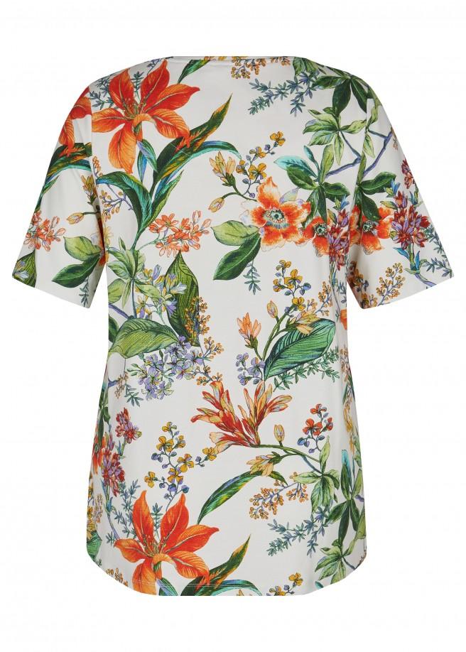 Verspieltes T-Shirt mit geblümtem, buntem Allover-Muster /