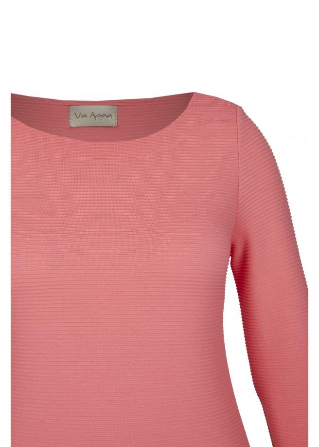 Unifarbenes Sweatshirt mit 3/4-Ärmeln und U-Boot-Ausschnitt /