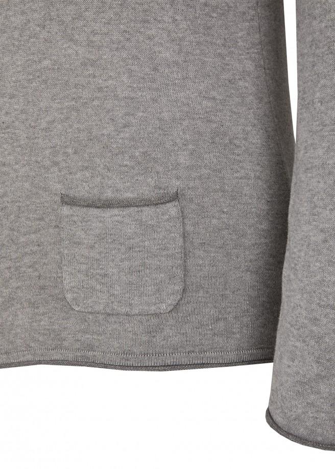 Femininer Pullover mit aufgenähter Tasche auf der Hüfte /